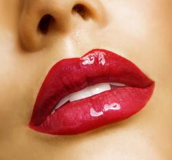 Sensual mouth. Red lipstick